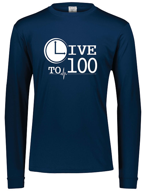 Live To 100 Navy Performance Long Sleeve