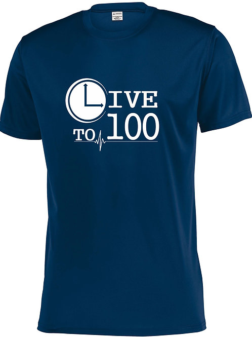 Live To 100 Navy Performance Tee