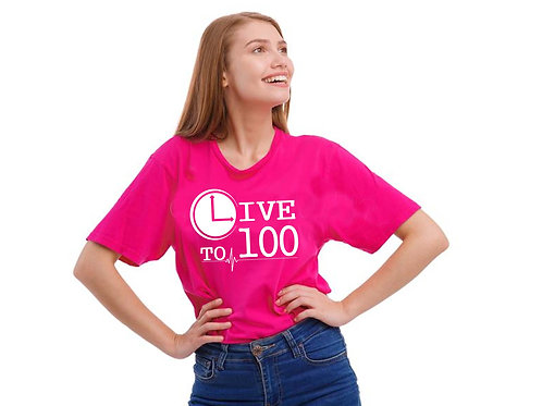 Live To 100 Competitor Tee  - Neon Pink