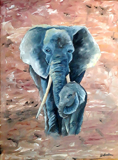 MOTHER AND BABY ELEPHANT - Samantha Woodhouse