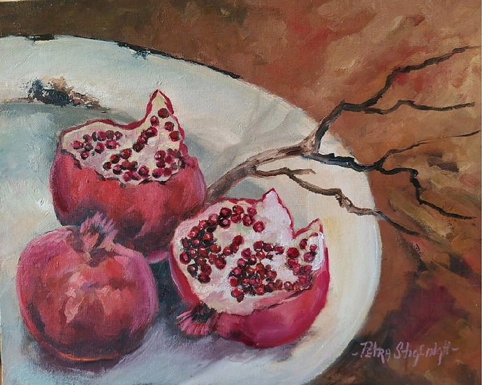 POMEGRANATES ON ENAMEL PLATE - Petra Stiglingh