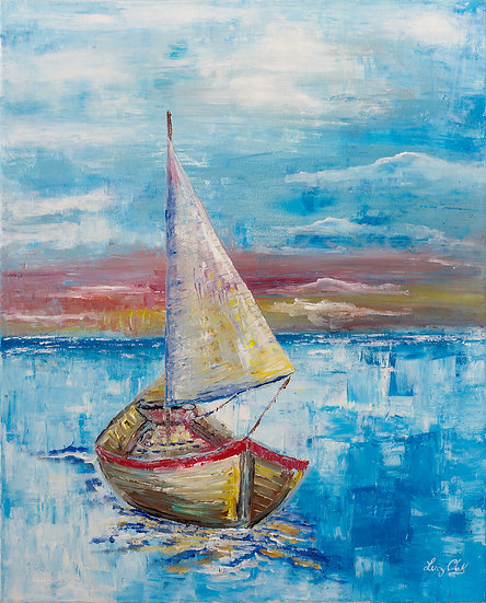SAILBOAT AT SUNSET - Lucy Oak