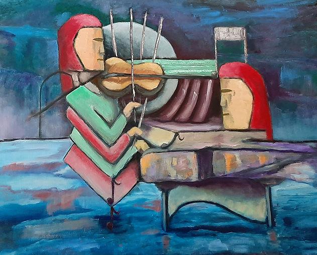 Violin player 30x24 oil on canvas 800 po