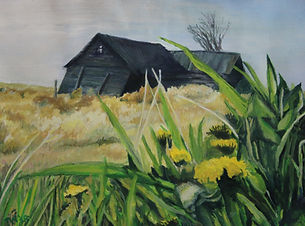 Painting of slanted house and field