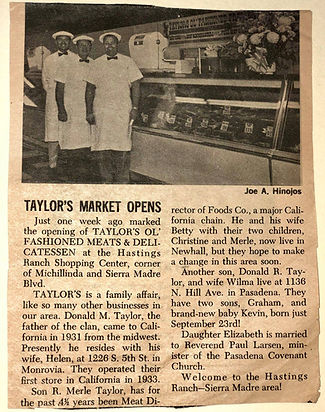 Newspaper article about Taylor's opening day.