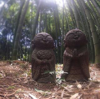 Two Fun Statues in the Bamboo Forest in Arashiyama