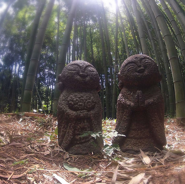 Two Fun Statues in the Bamboo Forest in Arashiyama