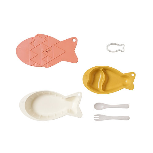 COMPACT ON-THE-GO FEEDING SET FISH-YELLOW/PINK