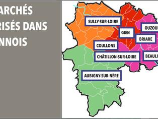 Les marchés alimentaires maintenus sur le territoire. (Arrêté préfectoral du 28 avril)