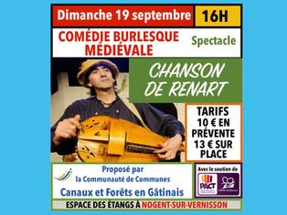 """Nogent-sur-Vernisson - Le 19 septembre, spectacle """"Chanson de Renart"""", pour passer un bon moment"""