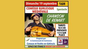 """Nogent-sur-Vernisson - dimanche 19 septembre, spectacle burlesque avec """"Chanson de Renart"""""""