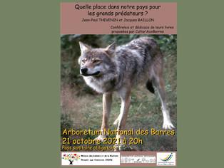 Conférence sur les grands prédateurs à l'Arboretum National des Barres le jeudi 21 octobre