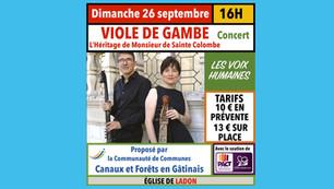 """Ladon - Dimanche 26 septembre concert viole de Gambe avec """"Les Voix humaines""""."""