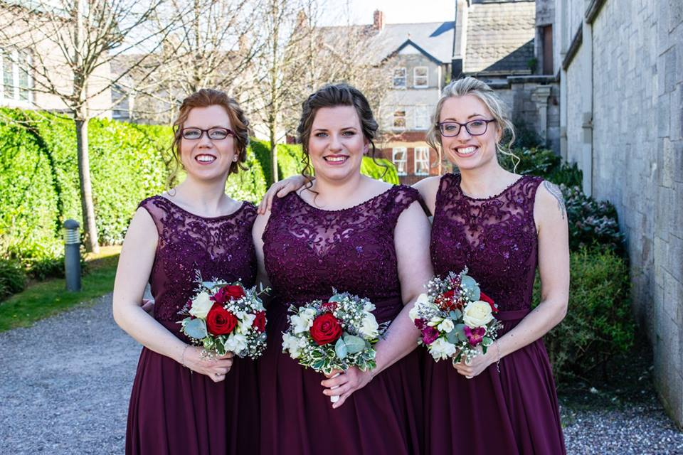 Bridemaids in Burgundy