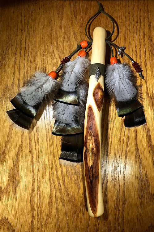 Native American Inspired Talking Stick Turkey Feathers with Red Agate