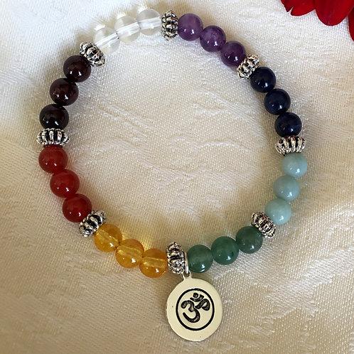 Chakra Om Gemstone Stretch Bracelet