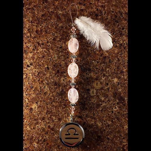 LIBRA Rose Quartz Gemstone Zodiac Heart String Aromatherapy Diffuser