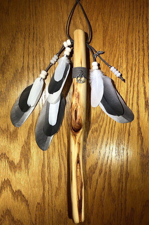 Native American Inspired Talking Stick Gray with Snow Quartz