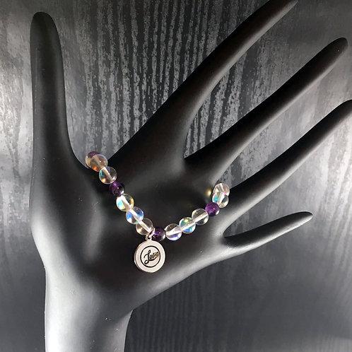 Hand-stamped Amethyst Aurora Borealis LOVE Bracelet
