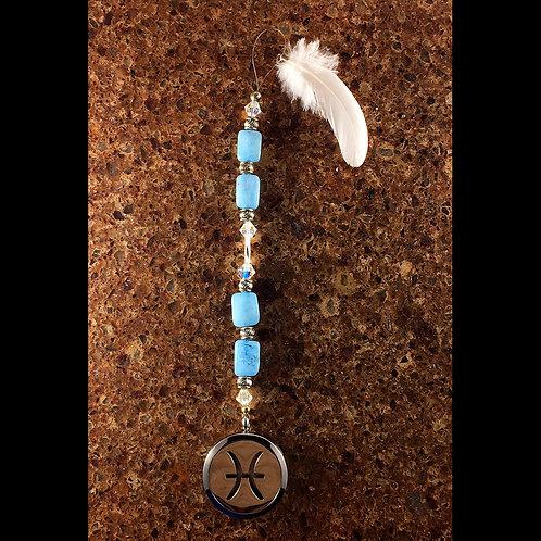 PISCES Aquamarine Gemstone Zodiac Heart String Aromatherapy Diffuser