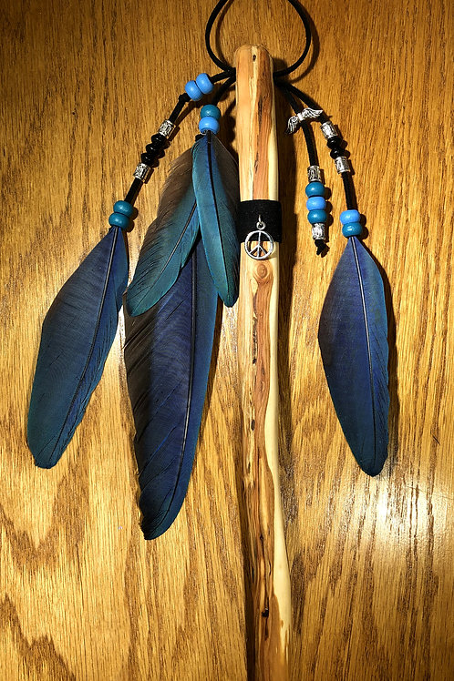 Native American Inspired Talking Stick Blue/Turquoise with Black Obsidian