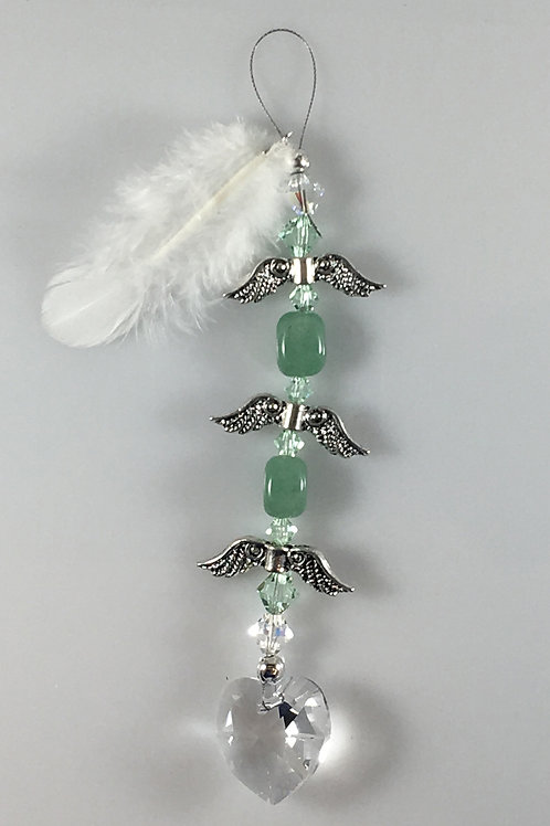 Sun Catcher Rearview Mirror Decoration Aventurine Heart String