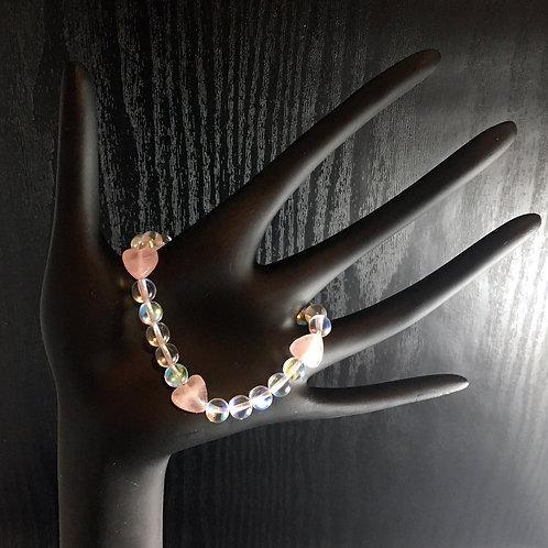 Rose Quartz & Frosted ~OR~ Clear Aurora Borealis LOVE Bracelet