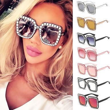 Óculos de sol caixa grande, estilo  quadrado, para mulher