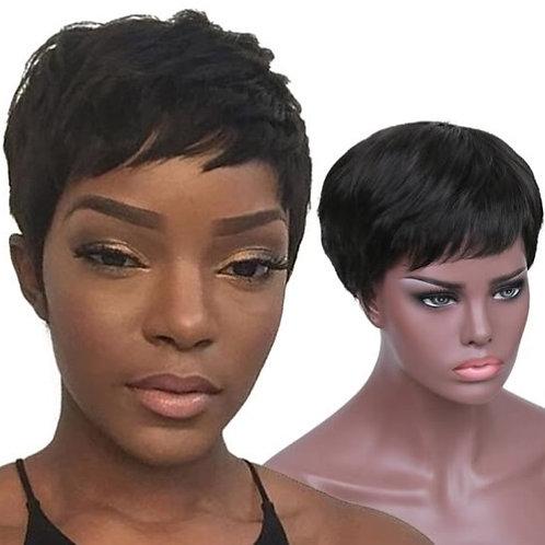 Peruca curta de cabelo preto com aspecto natural