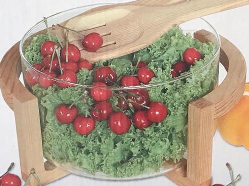 Saladeira com 2 colheres e base de madeira