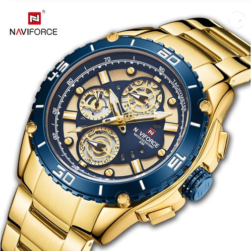 Relógio Desportivo de Luxo para Homem NAVIFORCE 9179 - Ouro Azul