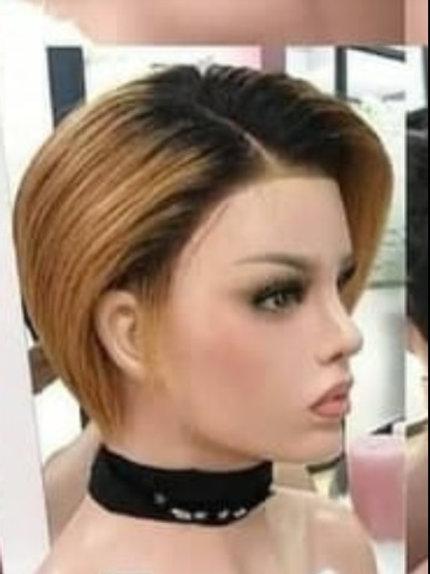 Peruca fronte lace curta de cabelo natural liso - loira