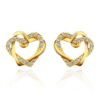 Brincos dourados em forma de coração duplo