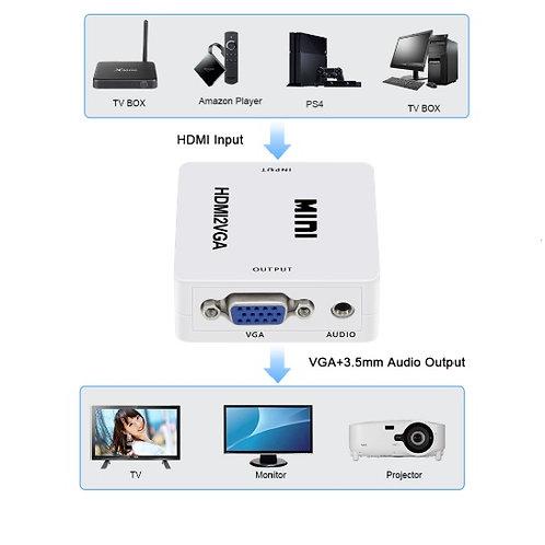 Conversor MINI de sinal digital para analógico, HDMI alta definição para VGA