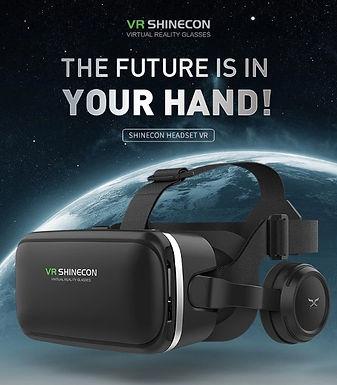 Óculos de realidade virtual 3D VR BOX SHINECON com fones de ouvidos