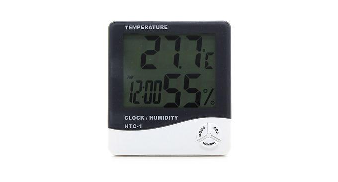 Relógio despertador, termómetro e higrómetro de parede ou mesa