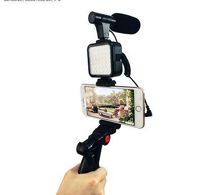 Kit de gravação de vídeo com tripé, luz de led e suporte  para smartphone