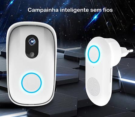 Campainha inteligente sem fios com câmara fotográfica e alarme p/ telemóvel
