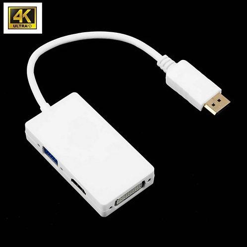 Conversor 3 em 1 DysplayPort para HDMI VGA e DVI para PC e Laptop