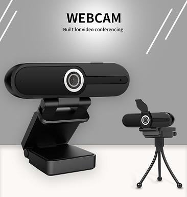 Webcam para videoconferências 2MP 1080P HD com tripé e microfone embutido