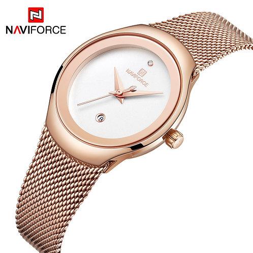Relógio de pulso para mulher NAVIFORCE - dourado