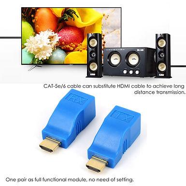 Extensor e Adaptador HDMI 1080P para Ethernet CAT5 E CAT6, 30 Metros
