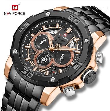 Relógio Desportivo de Luxo para Homem NAVIFORCE 9175 - Preto Ouro