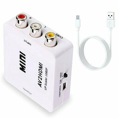 Conversor MINI de sinal AV para HDMI,  AV Video composto 3 RCA para HDMI