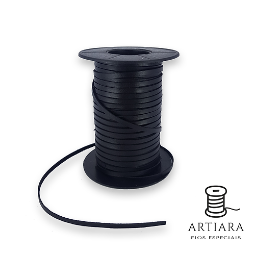 Tira PU 3MM Chato Preto