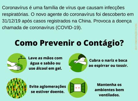 Saúde Municipal informa!!! COVID-19 - CORONAVÍRUS