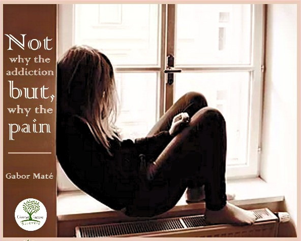 Young woman sits in despair, struggling with addiction. Ask not why the addiction, but why the pain? Gabor Mate. PAT: Plant-Assisted Therapy for addiction recovery and harm reduction save lives.trauma-informed care for addiction recovery at greener pastures recovery