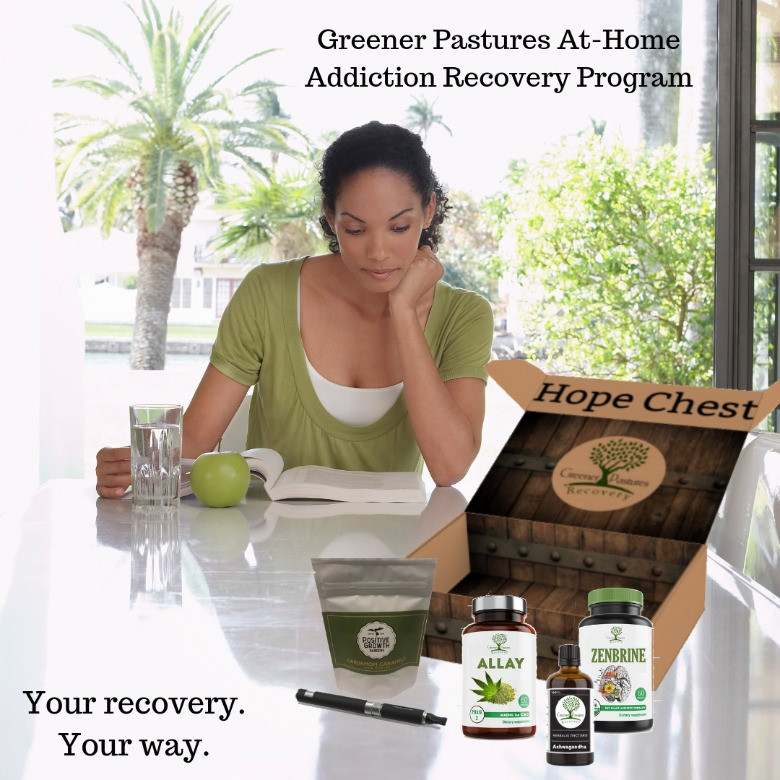 Addiction recovery client with her botanical recovery aids reads about PAT: Plant-Assisted Therapy for addiction recovery. A monthly subscription box with CBD, kratom, ashwagandha, kava plant-based recovery.
