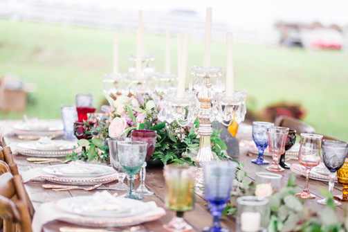 Vintage Table Setting with Glassware by