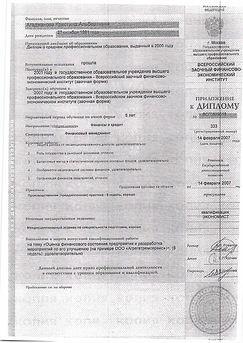 """Приложение к диплому бакалавра по специальности """"Финансы и кредит"""" Кристины Агаджановой"""